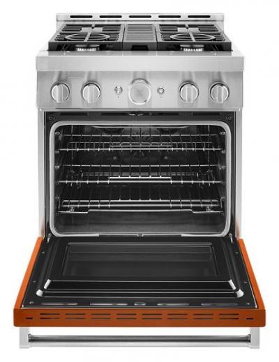 "30"" KitchenAid 4.1 Cu. Ft. Smart Commercial-Style Gas Range With 4 Burners - KFGC500JSC"