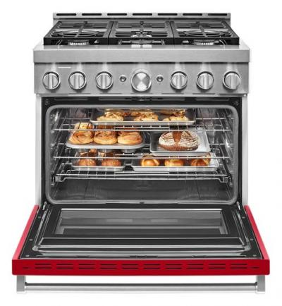 "36"" KitchenAid 5.1 Cu. Ft. Smart Commercial-Style Gas Range With 6 Burners - KFGC506JPA"