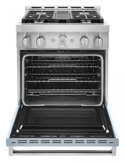 "30"" KitchenAid 4.1 Cu. Ft. Smart Commercial-Style Gas Range With 4 Burners - KFGC500JMB"