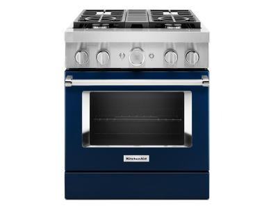 "30"" KitchenAid 4.1 Cu. Ft. Smart Commercial-Style Dual Fuel Range With 4 Burners - KFDC500JIB"