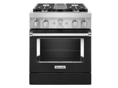 "30"" KitchenAid 4.1 Cu. Ft. Smart Commercial-Style Dual Fuel Range With 4 Burners - KFDC500JBK"