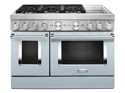 """48"""" KitchenAid 6.3 Cu. Ft. Smart Commercial-Style Dual Fuel Range With Griddle In Misty Blue - KFDC558JMB"""