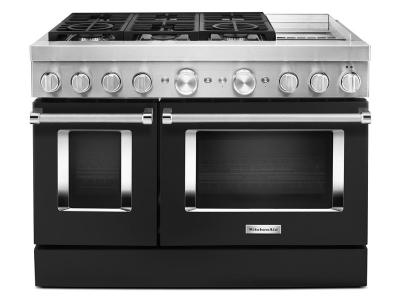"""48"""" KitchenAid 6.3 Cu. Ft. Smart Commercial-Style Dual Fuel Range With Griddle In Imperial Black - KFDC558JBK"""