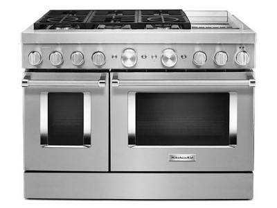 """48"""" KitchenAid 6.3 Cu. Ft. Smart Commercial-Style Dual Fuel Range With Griddle In Stainless Steel - KFDC558JSS"""