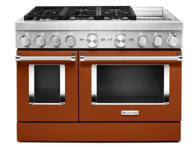 "48"" KitchenAid 6.3 Cu. Ft. Smart Commercial-Style Dual Fuel Range With Griddle In Scorched Orange - KFDC558JSC"