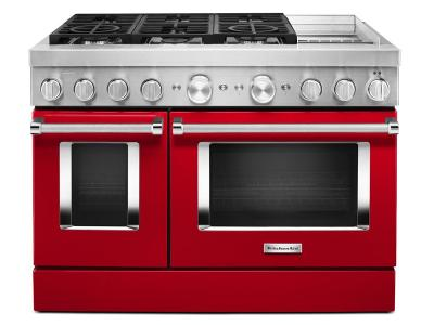 """48"""" KitchenAid 6.3 Cu. Ft. Smart Commercial-Style Dual Fuel Range With Griddle In Passion Red - KFDC558JPA"""