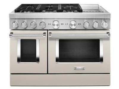 "48"" KitchenAid 6.3 Cu. Ft. Smart Commercial-Style Dual Fuel Range With Griddle In Matte Milkshake - KFDC558JMH"