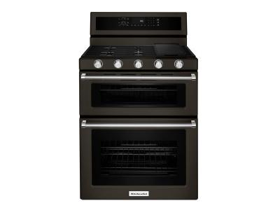 """30"""" KitchenAid 6 Cu. Ft. Double Oven Convection Gas Range With 5 Burner - KFGD500EBS"""