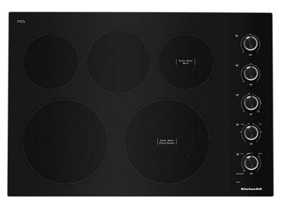 """30"""" KitchenAid Electric Cooktop With 5 Elements And Knob Controls - KCES550HBL"""