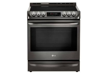 """30"""" LG 6.3 cu.ft. Black Stainless Steel Series Electric Slide In Range with ProBake Convection - LSE5613BD"""