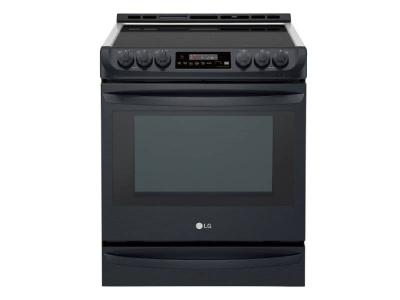"""30"""" LG 6.3 cu.ft. Black Stainless Steel Series Electric Slide In Range With ProBake Convection - LSE5613BM"""